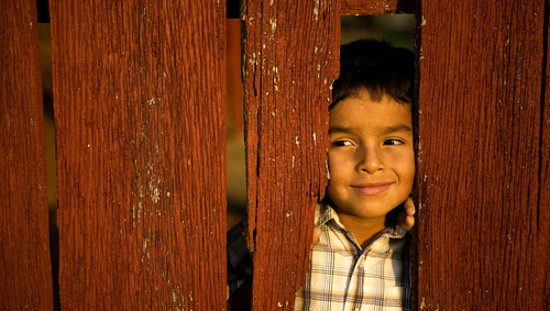 Boy Peaking Thru Fence